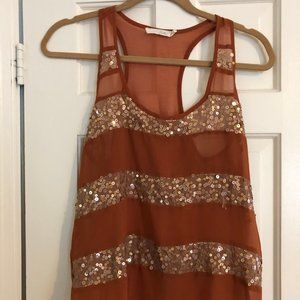 Lush Burnt Orange Sequin Striped Tank NWOT